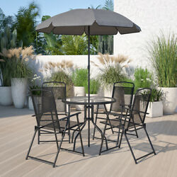 6 Piece Brown Patio Garden Set with Table, Tan Umbrella and 4 Folding Chairs $149.99