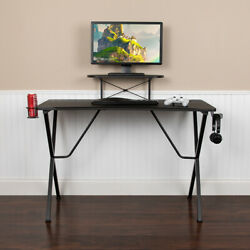 Black Gaming Desk with Cup Holder Headphone Hook and MonitorSmartphone Stand $94.99