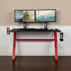 Red Professional Gaming Ergonomic Desk with Cup Holder and Headphone Hook $99.99