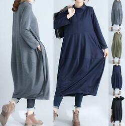 Oversize Jumper Women Casual Long Sleeve Blouse Tunic Kaftan Maxi Shirt Dress $13.33