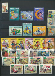 DISNEY Mint NH Mini Stamp Collection 30 Different Mickey Goofy Pluto Walt $8.97