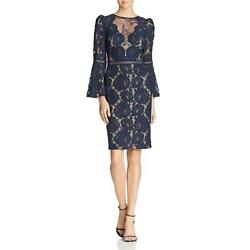 Tadashi Shoji Womens Navy Lace Bell Sleeves Special Occasion Dress 8 BHFO 0930