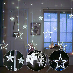 Star Curtain String Lights 12 Star 138LED Window Icicle Lights Christmas Wedding $18.48