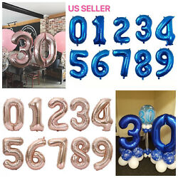 32quot; Blue Pink Navy Digital Number Balloons Large Big Foil Mylar Birthday Party $3.79