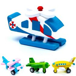 Toddler Toy Wooden Plane Helicopter Learning Shape and Color of Vehicle #2 $9.39