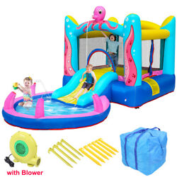 Safety Water Spray Inflatable Bounce House Kids Jump Castle Slide with Blower $175.95