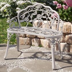 Rose Style Love Seat Bench White Cast Iron Antique Designed Outdoor Patio Porch $125.99