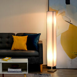 HOMCOM 4#x27; Tall Floor Lamp Modern Fabric Light Living Room w Stainless Steel Base $54.99