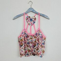 LF Chandelier Women#x27;s Top Printed Heart Back Festival Crop NWT Size Small $22.99