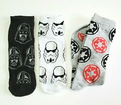 3 Pairs Star Wars Socks Size 6 12 Darth Vader Stormtrooper Imperial Ankle Crew $14.99