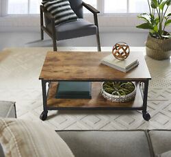 Rustic Country Weathered Pine Finish Coffee Table Living Room Wooden Furniture $149.72