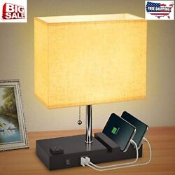 USB Bedside Table Lamp for Bedroom with 3 Phone StandsModern Table Lamp with 2 $36.95
