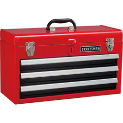 CRAFTSMAN Portable Tool Box 20.5 in Ball bearing 3 Drawer Red Steel and Lockable $78.99