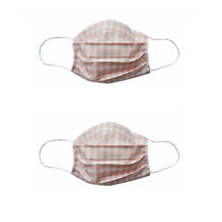 2PCS FABRIC FACE MASK-PINK CHECK-ADULT-SPB-10517 $10.00