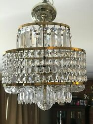 MID CENTURY MODERN - VINTAGE WATERFORD CRYSTAL CHANDELIER - SIGNED