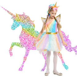 Kids Girls Unicorn Princess Rainbow Costume Tutu Dress Halloween Cosplay Party $14.99