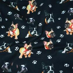 100% Cotton Fabric Dog Print Patchwork Squares Quilting Sewing Garment Dress $10.99