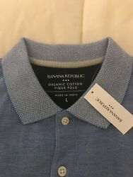 Banana Republic Men's Short Sleeve Solid Pique Polo Shirt Large  Blue $23.99