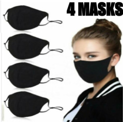 4 Pack Face Mask Black Washable Reusable Cotton - Three Layer - Ships from USA $12.75