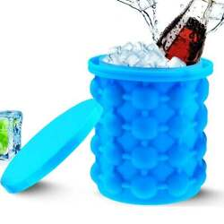 Summer Ice Cube Maker Genie Silicone Wine Ice Bucket Big Ice Cube Tray Mold Cup $9.99