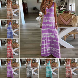 Women Summer Casual Long Maxi Dress Ladies Print Beach Sleeveless Sun Dresses $16.57