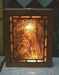 + Old Antique Stained Glass Window of 'Madonna with Child' in Light Box (CU400)