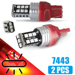 2pcs 15-SMD 7443 7440 LED Red Strobe Flash Brake Stop Tail Parking Light Bulb $8.97