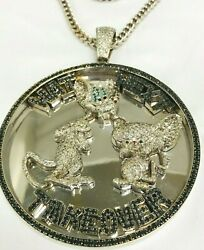 Large 10KT White Gold & Diamond Pinky & The Brain Pendant Clear Black Blue Red