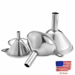 3pcs Stainless Steel Funnel Set Small Metal Portable Funnels Metal Kitchen Tool $8.99
