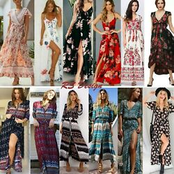 Women#x27;s Maxi Boho Floral Summer Beach Long Slit Evening Cocktail Party Sundress $8.99