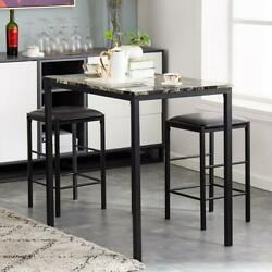Hot 3 Piece Dining Table Set Counter Height Table 2 Chairs Kitchen Bar Stools US $117.99