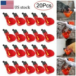 20pcs Poultry Water Drinking Cups Waterer Chicken Hen Plastic Automatic Drinker $14.48