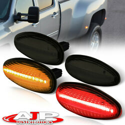 Smoked 4pc Dually Bed LED Side Marker Lights Lamps For 2001 2014 Chevy Silverado $24.99
