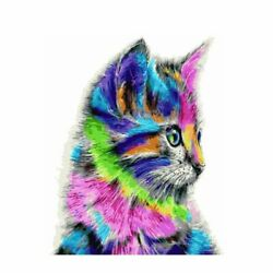 Cat Colorful Paint By Numbers Kits DIY Canvas Number Painting Hand Painted Cats $13.06