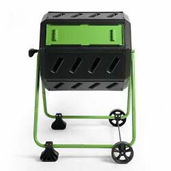 FCMP Outdoor 37 Gallon Dual Chamber Quick Curing Compost Tumbler Bin for Soil $109.99