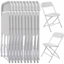 10 PACK Commercial Wedding Stackable 10PCS Plastic Folding Chairs White