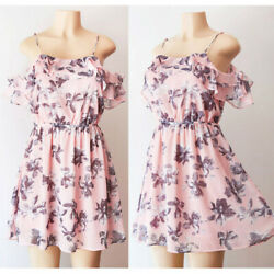 NEW Pink Floral Romantic Chiffon Ruffle Cold Off Shoulder Airy Summer Mini Dress $16.19