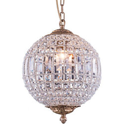 CRYSTAL CHANDELIER FRENCH GOLD SPHERE GLOBE DINING ROOM LIGHTING 1 LIGHT 18.5quot; $485.27