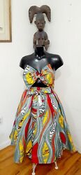 Laddi Collections African Print Maxi Women Skirt One Size. Head wrapped include $25.99