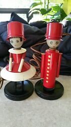 Vintage Art Deco Chase Chrome Colonel and Lady RARE pair Lamps 1930s Excellent $750.00