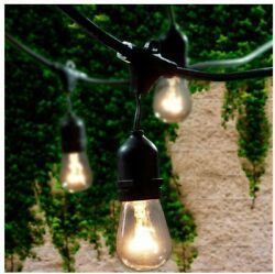 E26 Commercial String Lights with Suspender A15 and S14 Incandescent Bulbs BLACK