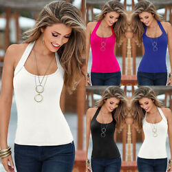Womens Summer Sexy Halter Neck Vest Tops Holiday Beach Sleeveless Tank Top Tee $9.99