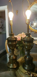 Vintage 36quot; Quality Stiffel Brass Trophy Urn Table Lamp. Set of Two $150.00