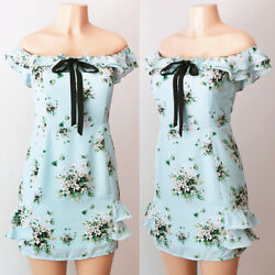 NEW Light Blue Green Floral Cute Bow Tie Ruffle Off Shoulder Pretty Mini Dress $16.19