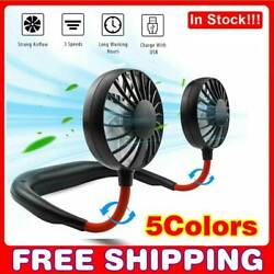 USB Rechargeable Neckband Sport Fan Lazy Neck Hanging Dual Cooling Portable Fan. $11.55