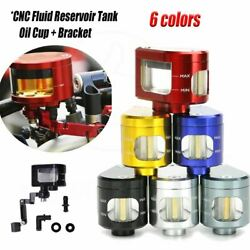 CNC Motorcycle Parts Oil Cylinders Reservoir Brake Clutch Tank Fluid Cup Bracket $14.24