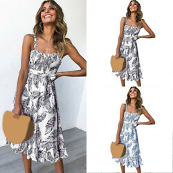 Dress Sun Dresses Summer Holiday Ladies Womens Strappy Midi Boho Swing $19.44