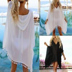 Women#x27;s Swimwear Beachwear Chiffon Hooded Coat Suit Bikini Cover Ups Swim Suits $14.24