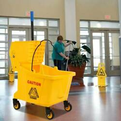 34 Quart Commercial Mop Bucket Side Press Wringer Trolley on Wheels Cleaning $58.99