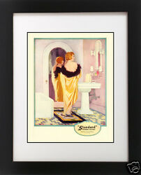 VTG 1920's Yellow BATH Redhead Hair Flapper Girl PINK Bathroom Art Deco Print